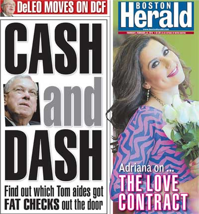 Adriana's column makes the cover of the Boston Herald! February 13, 2014