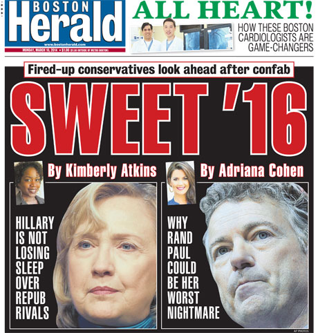 Adriana Cohen headline story on the Boston Herald; March 10, 2014