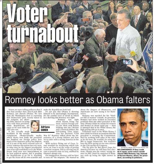 Romney looks better as Obama falters | Boston Herald | August 4, 2014